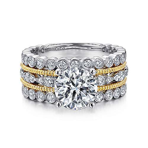 Gabriel - Shoshanna 18k Yellow And White Gold Round Straight Engagement Ring