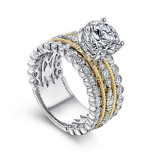 Shoshanna 18k Yellow And White Gold Round Straight Engagement Ring angle 3