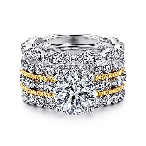 Shoshanna 18k Yellow And White Gold Round Straight Engagement Ring angle 4