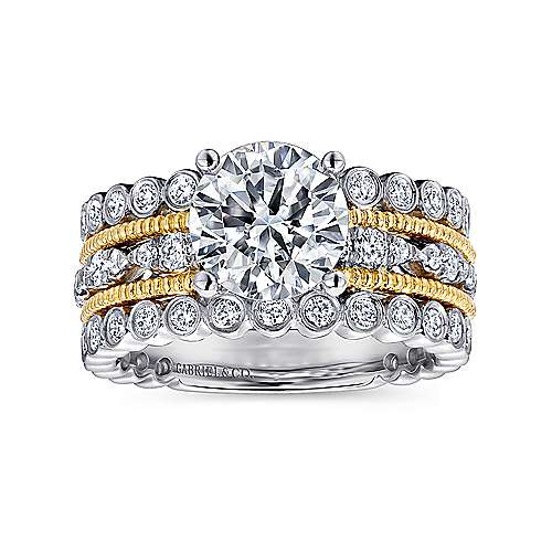 Shoshanna 18k Yellow And White Gold Round Straight Engagement Ring angle 5