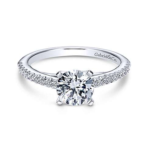 Sienna 14k White Gold Round Straight Engagement Ring angle 1