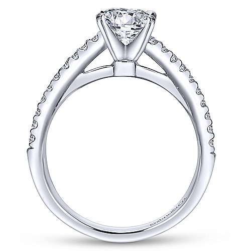 Sienna 14k White Gold Round Straight Engagement Ring angle 2