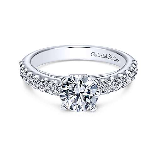 Gabriel - Sienna 14k White Gold Round Straight Engagement Ring