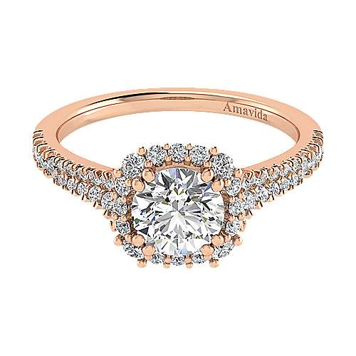 Sierra 18k Rose Gold Round Halo Engagement Ring angle 1