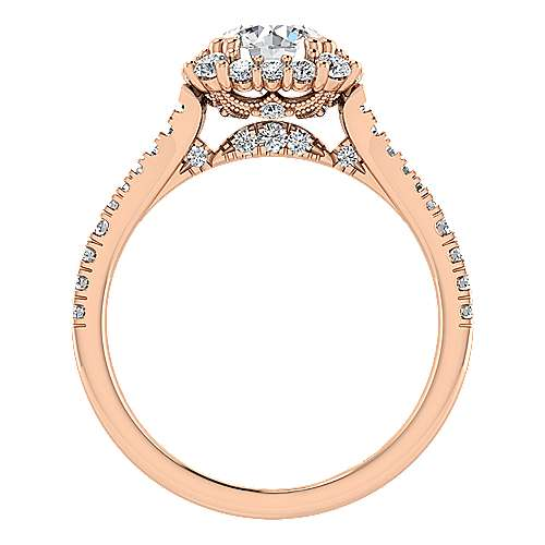 Sierra 18k Rose Gold Round Halo Engagement Ring angle 2