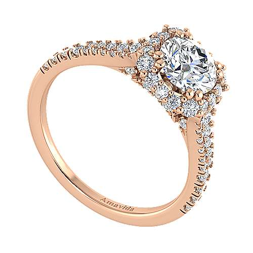 Sierra 18k Rose Gold Round Halo Engagement Ring angle 3