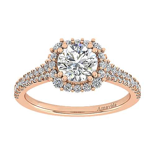 Sierra 18k Rose Gold Round Halo Engagement Ring angle 5