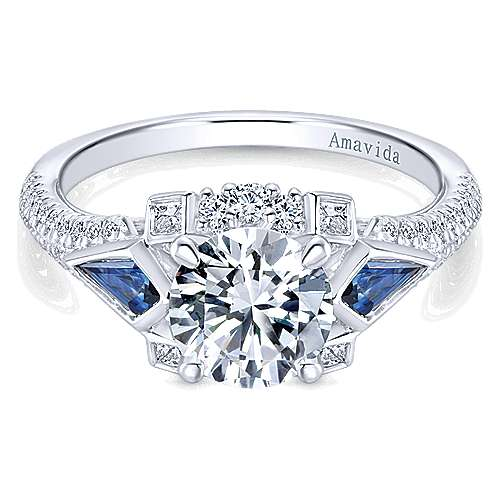 Gabriel - Silk 18k White Gold Round 3 Stones Engagement Ring