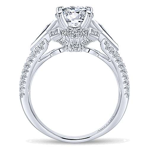 Silk 18k White Gold Round 3 Stones Engagement Ring angle 2