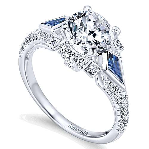 Silk 18k White Gold Round 3 Stones Engagement Ring angle 3