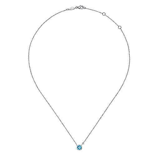 Silver Diamond & Blue Topaz Necklace angle 2