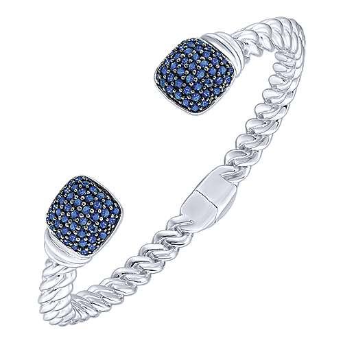 Silver Sapphire Bangle angle 2