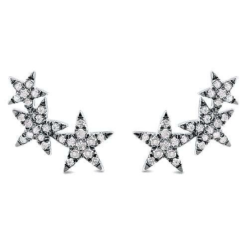 Gabriel - Silver Shadow Play Diamond Earrings