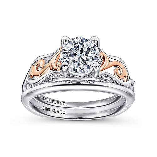 Silvia 18k White And Rose Gold Round Twisted Engagement Ring
