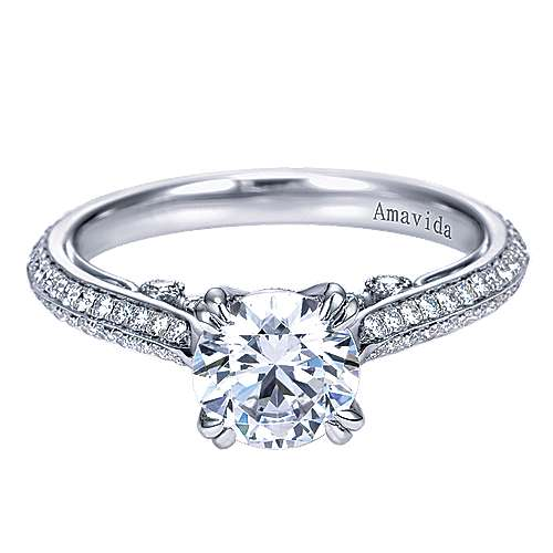 Gabriel - Simone 18k White Gold Round Straight Engagement Ring