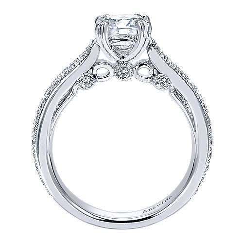 Simone 18k White Gold Round Straight Engagement Ring angle 2
