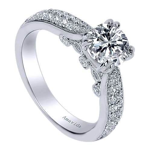 Simone 18k White Gold Round Straight Engagement Ring angle 3