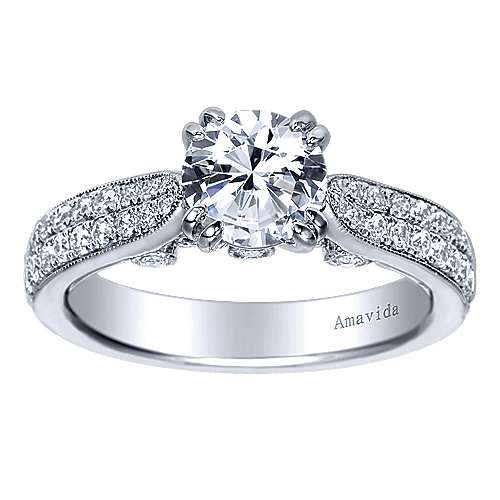 Simone 18k White Gold Round Straight Engagement Ring angle 5