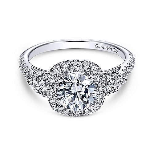 Gabriel - Siobhan 14k White Gold Round 3 Stones Halo Engagement Ring