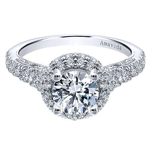 Sirene 18k White Gold Round Double Halo Engagement Ring angle 1