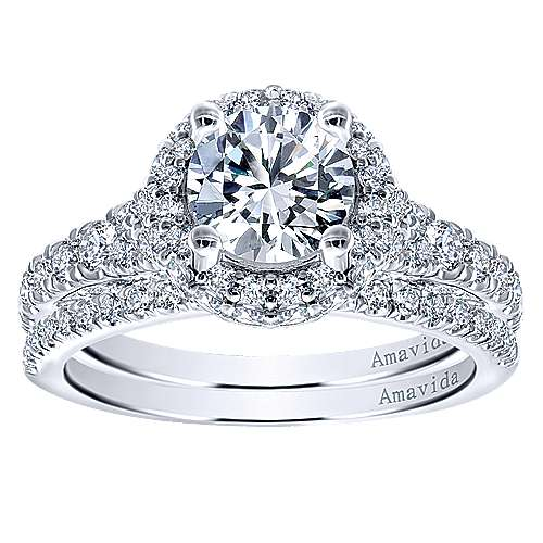 Sirene 18k White Gold Round Double Halo Engagement Ring angle 4