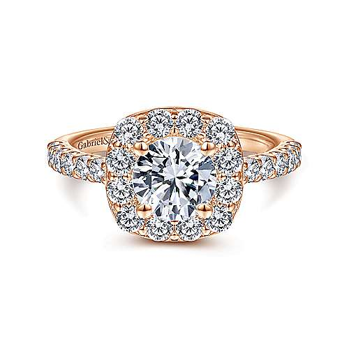 Gabriel - Skylar 14k Pink Gold Round Halo Engagement Ring