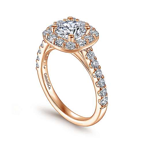 Skylar 14k Rose Gold Round Halo Engagement Ring angle 3