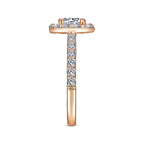 Skylar 14k Rose Gold Round Halo Engagement Ring angle 5