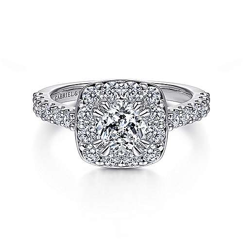 Gabriel - Skylar 14k White Gold Cushion Cut Halo Engagement Ring