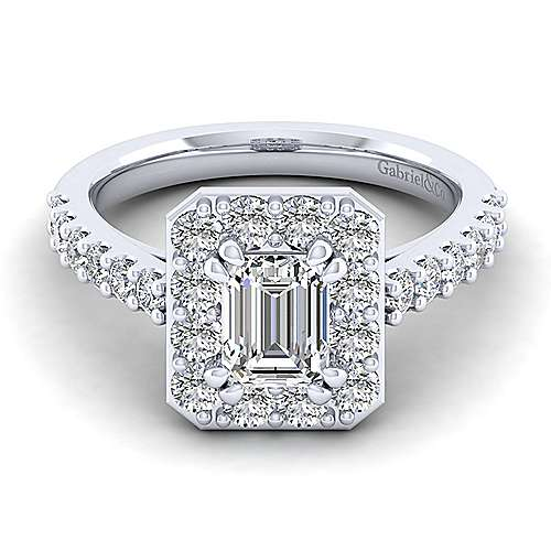 Gabriel - Skylar 14k White Gold Emerald Cut Halo Engagement Ring
