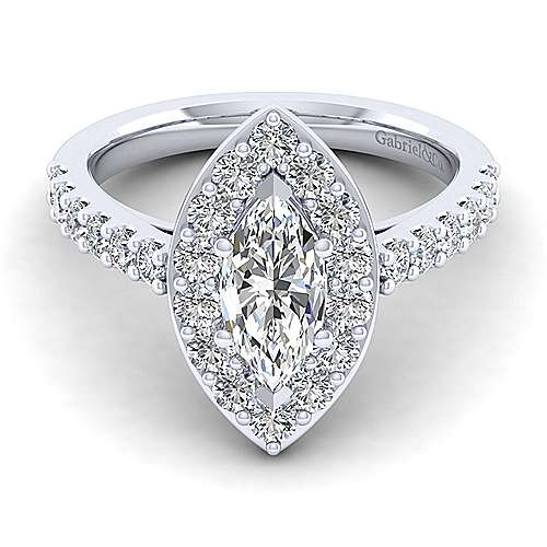 Gabriel - Skylar 14k White Gold Marquise  Halo Engagement Ring