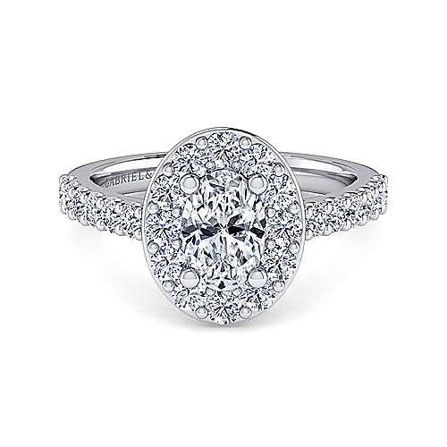 Gabriel - Skylar 14k White Gold Oval Halo Engagement Ring