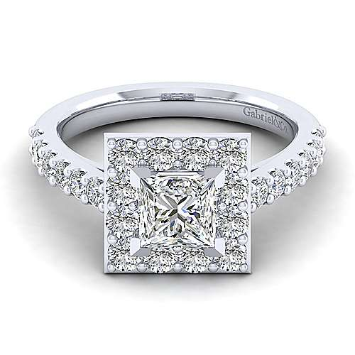 Gabriel - Skylar 14k White Gold Princess Cut Halo Engagement Ring