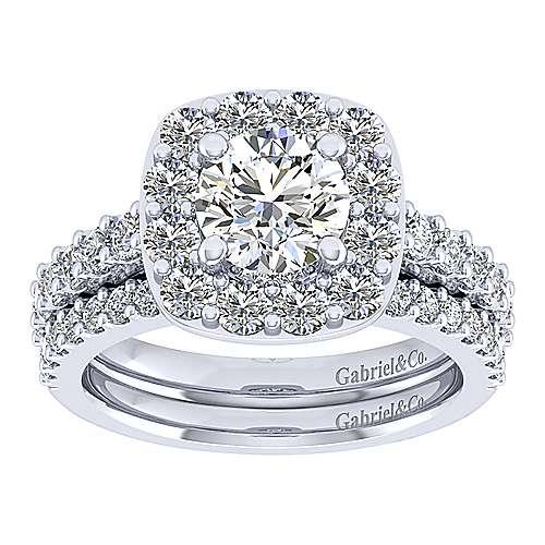 Skylar 14k White Gold Round Halo Engagement Ring angle 4