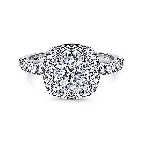 Gabriel - Skylar 14k White Gold Round Halo Engagement Ring
