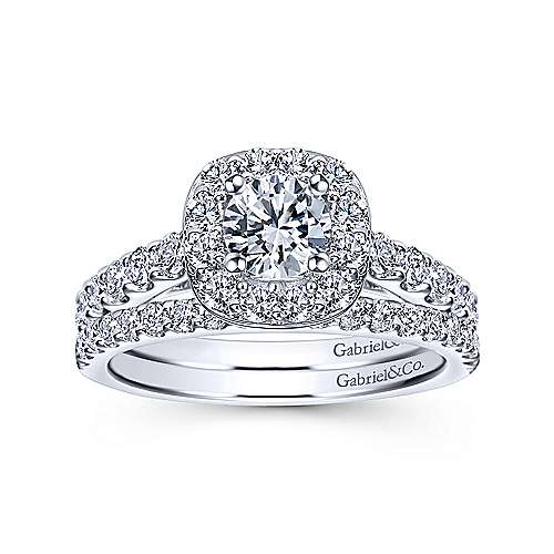 Skylar 14k White Gold Round Halo Engagement Ring angle 4
