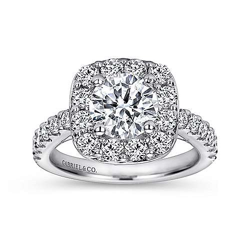 Skylar 14k White Gold Round Halo Engagement Ring angle 5