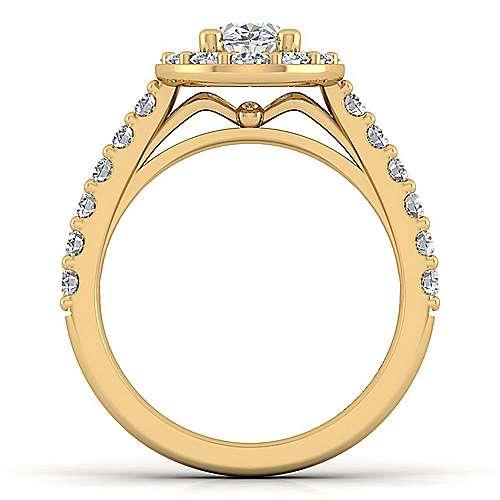 Skylar 14k Yellow Gold Oval Halo Engagement Ring angle 2
