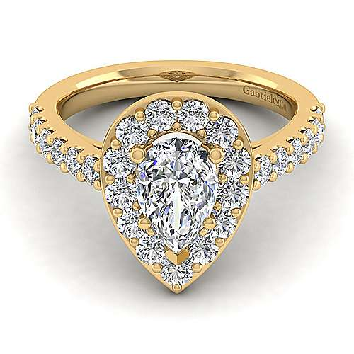 Skylar 14k Yellow Gold Pear Shape Halo Engagement Ring angle 1