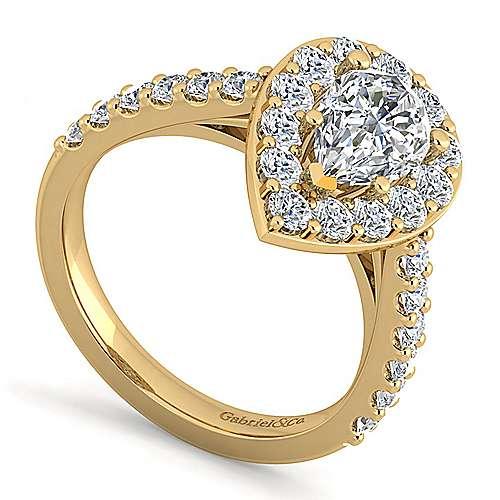 Skylar 14k Yellow Gold Pear Shape Halo Engagement Ring angle 3