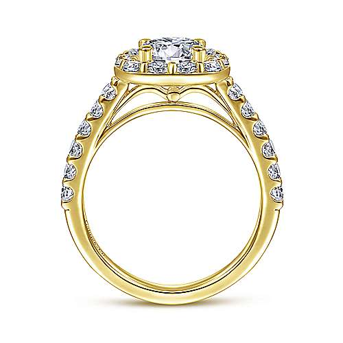 Skylar 14k Yellow Gold Round Halo Engagement Ring angle 2