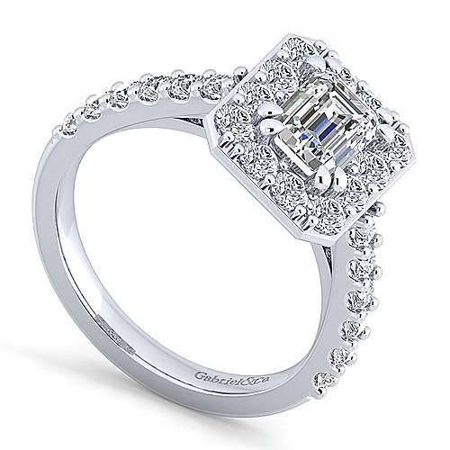 Skylar Platinum Emerald Cut Halo Engagement Ring angle 3