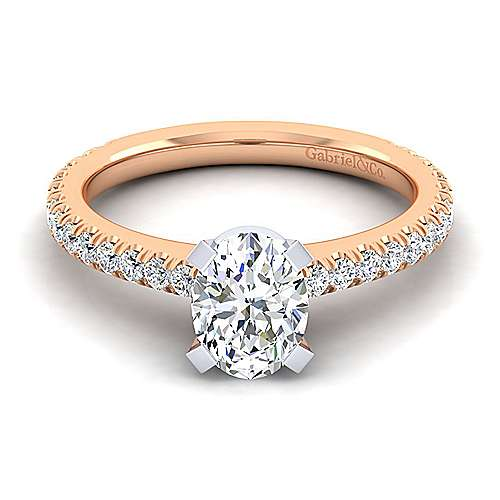 Sloane 14k White And Rose Gold Oval Straight Engagement Ring angle 1