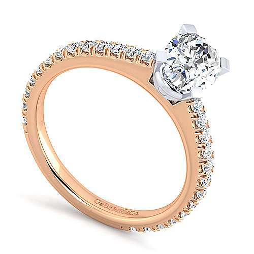 Sloane 14k White And Rose Gold Oval Straight Engagement Ring angle 3
