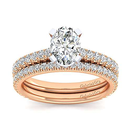Sloane 14k White And Rose Gold Oval Straight Engagement Ring angle 4