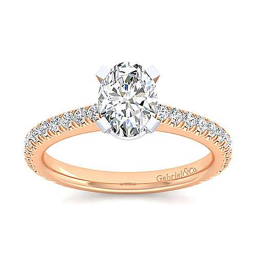 Sloane 14k White And Rose Gold Oval Straight Engagement Ring angle 5