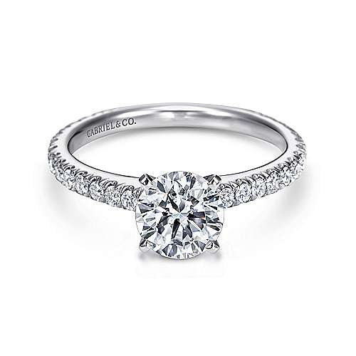 Gabriel - Sloane 14k White Gold Round Straight Engagement Ring