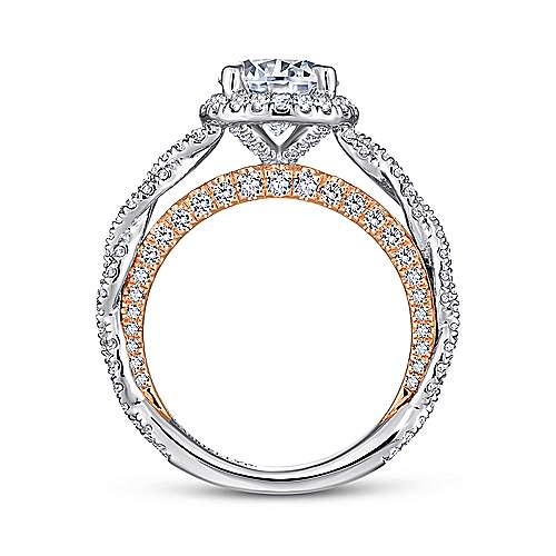 Soledad 18k White And Rose Gold Round Halo Engagement Ring angle 2