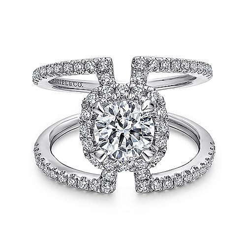 Gabriel - Soleil 14k White Gold Round Halo Engagement Ring