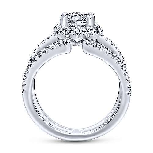 Soleil 14k White Gold Round Halo Engagement Ring angle 2